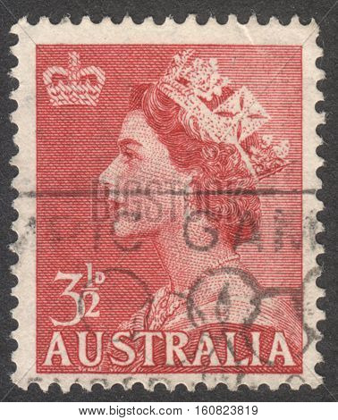 MOSCOW RUSSIA - CIRCA NOVEMBER 2016: a post stamp printed in AUSTRALIA shows a portrait of Queen Elizabeth II the series