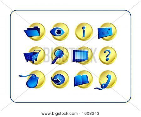 Icon Set - Golden-Blue