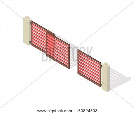 Lattice fence and gate with columns isolated on white. Gate with sliding system. Isometric projection. Metal and wooden gates and fences for yard in flat style design. Vector illustration