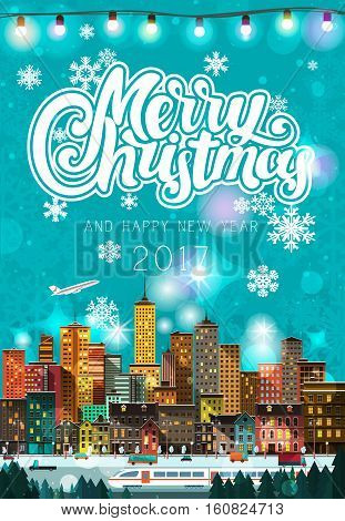 Stylish modern flat Christmas detailed poster with city scape, peoples, vehicles, walking people, airplane. Holidays Mood. Urban skyscrapers with lighted windows, snow, white train, street light