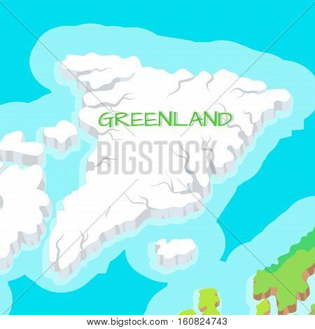 Greenland map isolated. Isometric map of Greenland detailed vector illustration. 3D country concept for infographic. Located between the Arctic and Atlantic Oceans. Vector design illustration