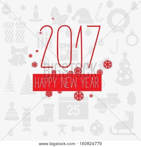 Modern style red gray color scheme new year greetings card on light-gray background with gray flat christmas icons and red snowflakes. Flat design element. Bright mood. 2017 new year greetings