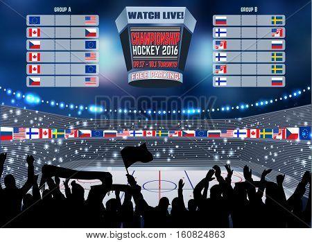 Vector ice hockey arena Board Empty Field Background