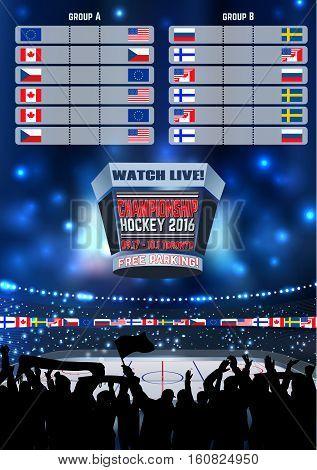 Vector ice hockey arena Board Empty Field Background Championship Toronto.