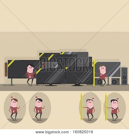 vector illustration showing sales two assistants in three versions