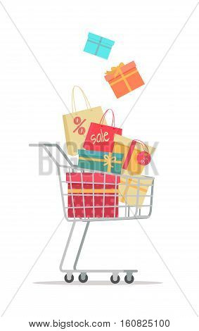 Buying gifts on sale. Shopping trolley full of gift boxes with discount percents tags flat vector illustration isolated on white background. Holiday purchases in supermarket. For store promotioms ad