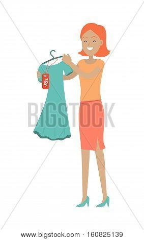 Discounts in clothing store concept. Smiling woman standing with dress bought on sale flat vector illustration isolated on white background. Shopping on holiday sellout. For shop promotions ad