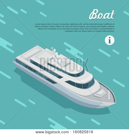 Boat sailing in sea. Boat watercraft designed to float, plane, work or travel on water. White cruise boat icon in flat style web banner. Cruise ship or cruise liner passenger ship. Vector illustration