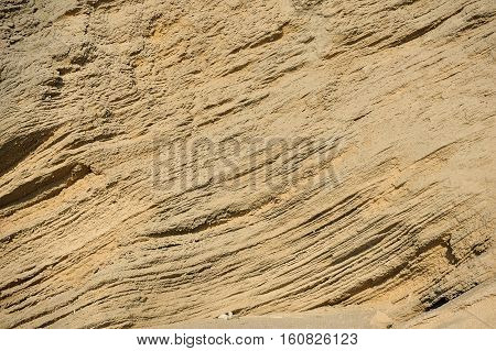 Porous texture of the sandstone on the seashore
