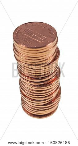 Dollar Coins 1 Cent Wheat Penny Cent Isolated - Vertical