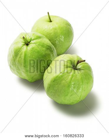 Three Guava Fruits on White Background (Psidium guajava)