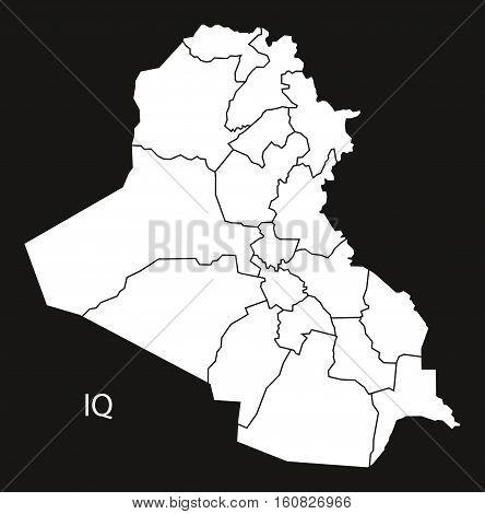 Iraq Governorates Map Black And White Illustration