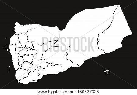 Yemen Governorates Map Black And White Illustration