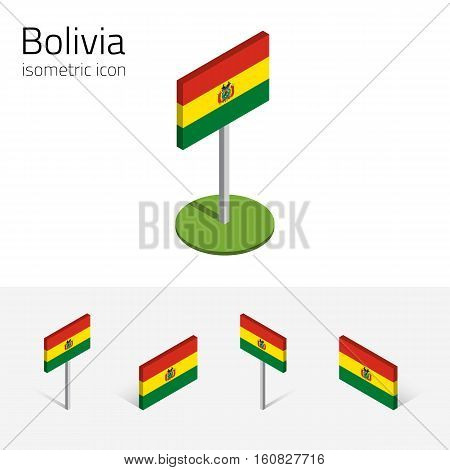 Bolivian flag (Plurinational State of Bolivia) vector set of isometric flat icons 3D style different views. 100% editable design elements for banner website presentation infographic poster map. Eps 10