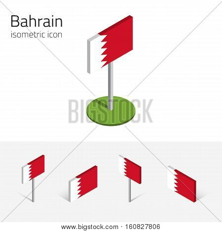 Bahraini flag (Kingdom of Bahrain) vector set of isometric flat icons 3D style different views. 100% editable design elements for banner website presentation infographic poster map. Eps 10