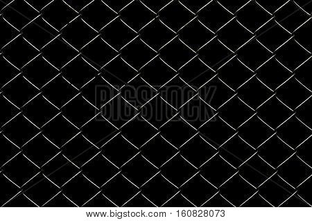 Wired fence on a black background in park