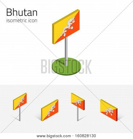 Bhutanese flag (Kingdom of Bhutan) vector set of isometric flat icons 3D style different views. 100% editable design elements for banner website presentation infographic poster map. Eps 10
