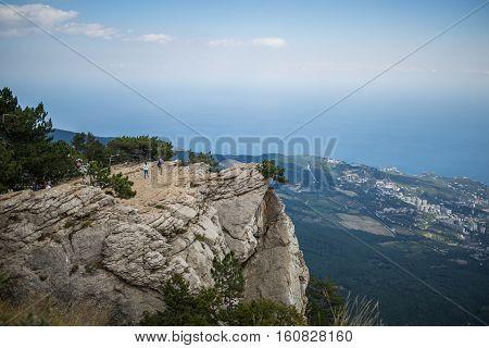 Beautiful panoramic view from top of crimean mountain Ai-Petri on Black sea coast, Crimea