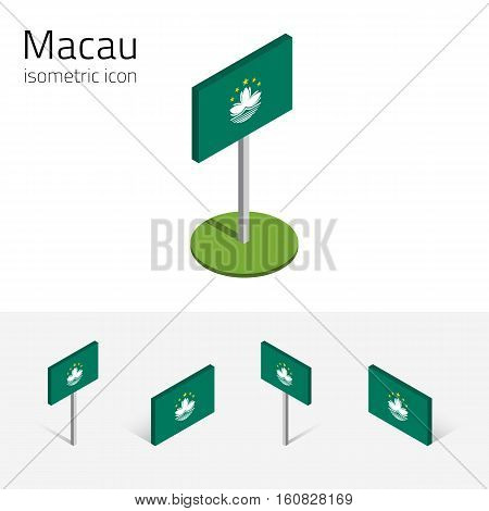 Macanese flag (Special Administrative Region Macau) vector set of isometric flat icons 3D style different views. Editable design elements for banner website presentation infographic map. Eps 10