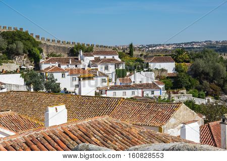 View of the medieval town of Obidos in Portugal