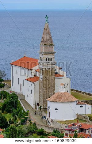 St. George's church in the old town of Piran, Istria, Slovenia