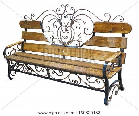 Forged Metalic And Wood Bench Isolated On White