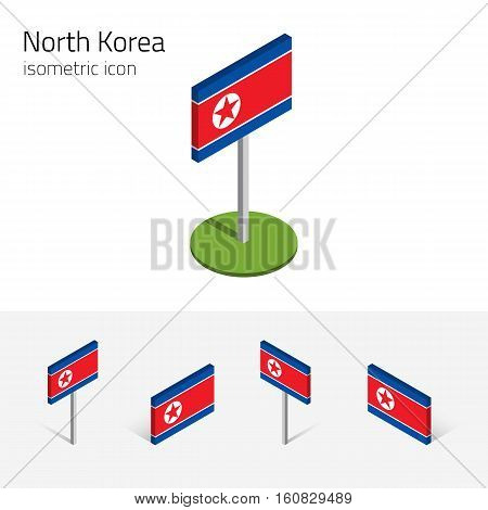 North Korea flag (Democratic People's Republic of Korea DPRK) vector set of isometric flat icons 3D style. Editable design elements for banner website presentation infographic map. Eps 10