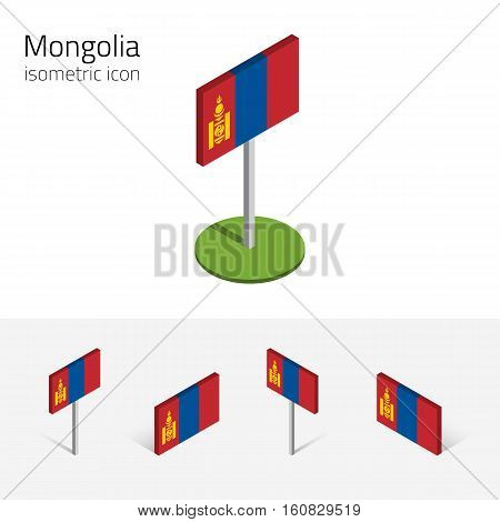 Mongolian flag (Mongolia) vector set of isometric flat icons 3D style different views. 100% editable design elements for banner website presentation infographic poster map collage. Eps 10