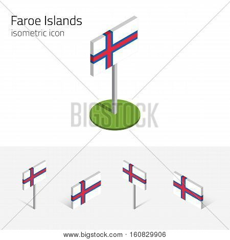 Faroe Islands flag (Kingdom of Denmark) vector set of isometric flat icons 3D style different views. Editable design elements for banner website presentation infographic poster map. Eps 10