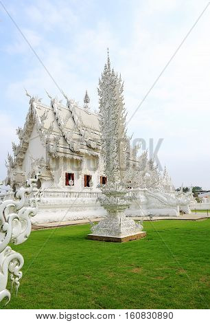 architecture of the church in the temple (Wat Rong Khun)Chiang Rai provinceThailand.