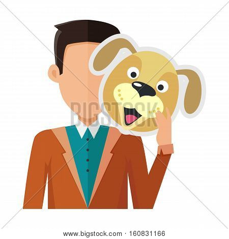 Brunet man character in pullover with dog mask in hand vector. Flat design. Masquerade animal clothing and party costume. Psychological portrait and hidden personality. Isolated on white background