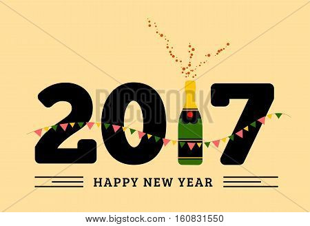 Congratulations to the happy new 2017 year with a bottle of champagne, flags. Vector flat illustration