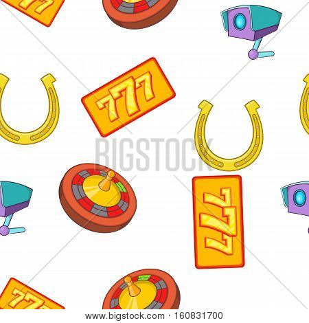 Gambling elements pattern. Cartoon illustration of gambling elements vector pattern for web