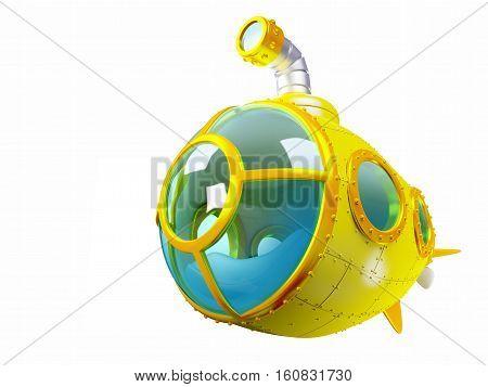 cartoon yellow submarine isolated on white. 3d illustration