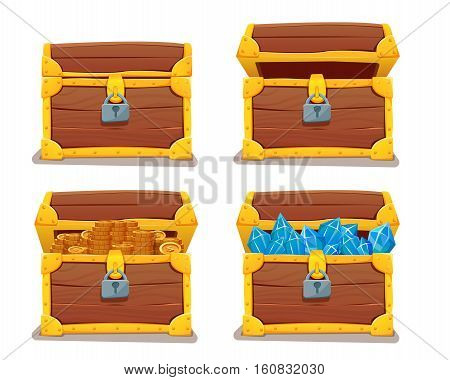 Treasure chest with gems and gold. vector illustration. isolated on white