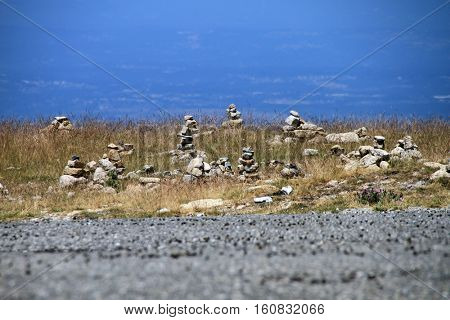 Cairn on the stone, Stones stack