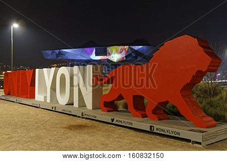 Lyon, France, December 9, 2016 : Show On The New Musee Des Confluences. The Festival Of Lights Expre