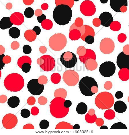 Unusual dotted pattern. Seamless abstract background from painted rounds. Black red pink white colors. Irregular order, different sizes. Vector bright contrast design for wallpaper, greeting card.