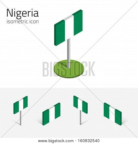 Nigerian flag (Federal Republic of Nigeria) vector set of isometric flat icons 3D style. African country flags. Editable design elements for banner website presentation infographic map. Eps 10