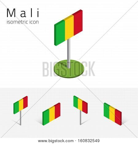 Malian flag (Republic of Mali) vector set of isometric flat icons 3D style. African country flags. Editable design elements for banner website presentation infographic poster map card. Eps 10