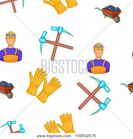 Mining and quarrying industry pattern. Cartoon illustration of mining and quarrying industry vector pattern for web