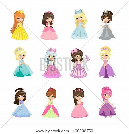 Set of princesses in evening gowns isolated. Elegant little girls in flat style. Fashionable ladies in dresses, fairytale costumes, magic fantasy fashion. Princess with crowns. Vector illustration