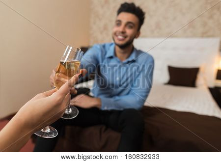 Latin Businessman Clink Champange Glass Cheers Sitting At Bed Room With Businesswoman Business Man Woman Lovers Hotel