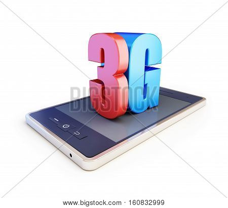 3g smartphone ang text 3g 3G sign 3G cellular high speed data wireless connection. 3d Illustrations on white background