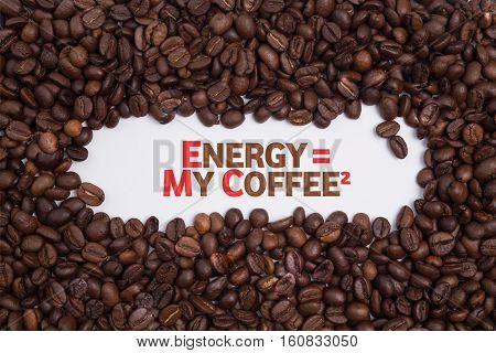 Background made of coffee beans with message