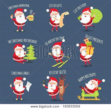 Santa activities set. Christmas morning. List of gifts. Gift delivery. The Christmas tree decorate. To arrive in time. To get presents. Christmas carols. Festive selfie. Happy holidays. Vector