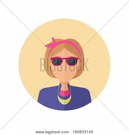 Young woman private avatar icon. Young blonde woman in purple dress with necklace and glasses. Social networks business private users avatar pictogram. Isolated illustration on white background.