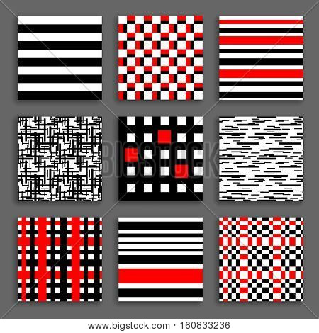 Striped and Chequered Patterns Set. Black white red geometric backgrounds collection. Bright graphic prints for fashionable fabric, wallpaper. Vector illustration.