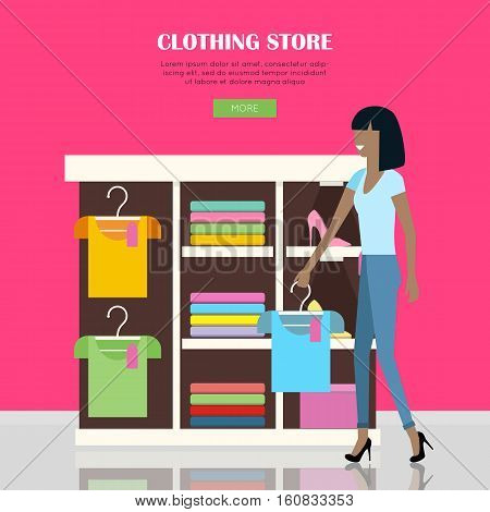 Clothing store illustration. Woman make her purchases in clothing shop. Shelves with clothes in shop. People shopping, marketing people, customer in mall, retail store illustration. Website template.
