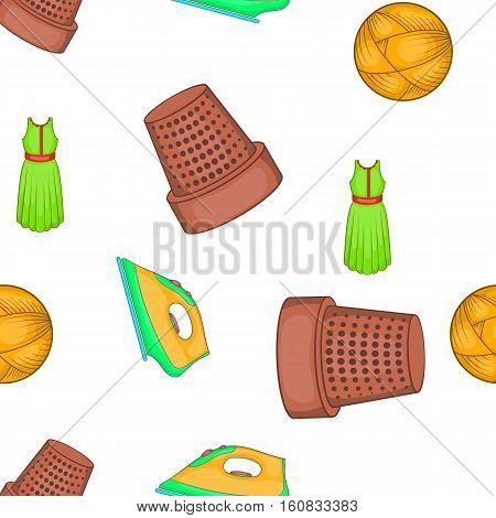 Sewing tools pattern. Cartoon illustration of sewing tools vector pattern for web